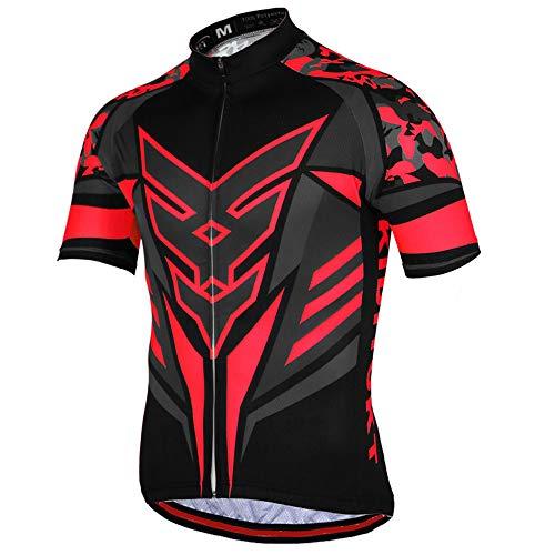 ZYLEDW Maillot Ciclismo Hombre Ropa, Camiseta Bicicleta MTB con Mangas Cortas con 3 Bolsillos Traseros, Malla Transpirable y Cremallera Completa, para MTB Ciclista Bici