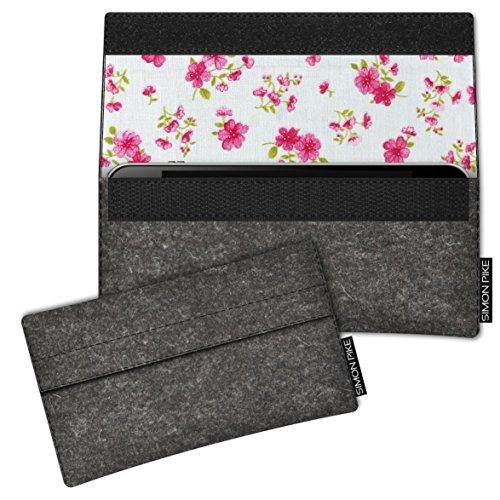 SIMON PIKE Hülle Tasche kompatibel mit Microsoft Surface Duo   Filztasche Newyork in 14 anthrazit aus Filz (echtem Wollfilz) Handyhülle