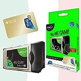 TiVuSat HD Gold Karte & We CAM SmartCam von DIGIQuest - HD CI+ WiFi Modul mit WPS Taste inklusive TiVuSat HD Gold, italienische HD/ 4K Kanäle über Satellit Eutelsat HotBird 13,0° Ost
