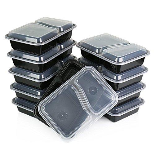 Bureze Honana CF-AT054 Lot de 10 boîtes à déjeuner jetables à 2 compartiments Passe au micro-ondes