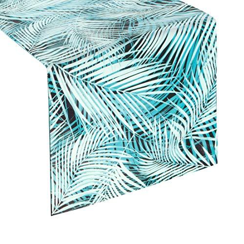 Eurofirany tafelkleed, tafelloper, fluweel, bladmotief, bladeren, tafeldecoratie, tafelkleed, tafelloper, tafelkleed, fluweel, elegant, 1 stuks, turquoise, 35 x 140 cm