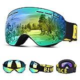 Upgrow Skibrille Skifahren Brille Schneebrille mit Anti-Nebel und UV-Schutz