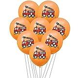 Qsdxlsd Globo Cumpleaños Fireman Sam Partido látex Ballon Globos Niños favores de Coches Regalo del Globo de Fuego del camión del Partido decoración (Color : 10pcs Orange Set)