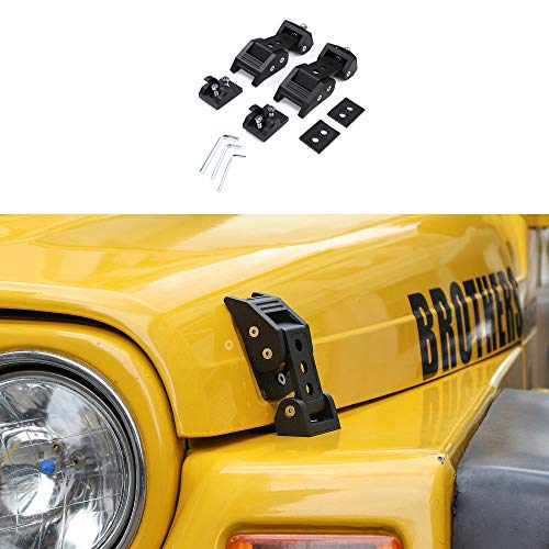 RT-TCZ Aluminum Hood Latches Catch Kit for Jeep Wrangler TJ Accessories 1997-2006 (Black)