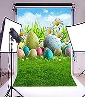 GooEoo ネイチャービューカスタマイズ可能な3 x 5フィートの細いビニール写真の背景子供と子供のための緑の草原とカラフルなイースターエッグシーン1 x 1.5 m写真背景スタジオ小道具