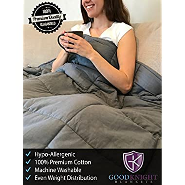 Good Knight Weighted Blanket For Autism | ADD | Stress | Anxiety | 60 x80  17 lbs | Hypoallergenic Poly-Pellets Washable 100% Cotton Material