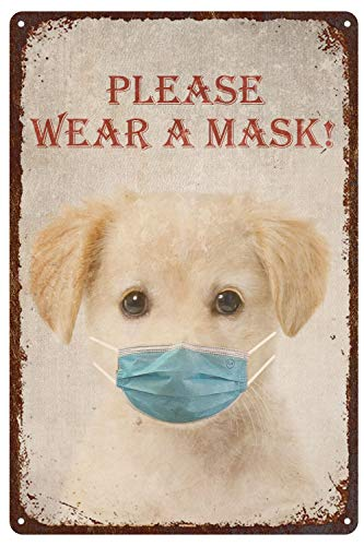 AQX Covid19 Dogin Mask Wall Decor Coronavirus Room Decoration - Funny Pandemic Wall Vintage Tin Signs Outdoor Street Garage Metal Sign 12X8Inch Dog Lover