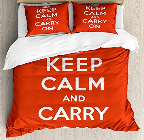 Juego de funda nórdica Keep Calm 3 PCS, composición en rojo y blanco con texto Keep Calm and Carry On y Royal UK Crown, juego de cama para niños / adolescentes / adultos / niños, rojo blanco Q