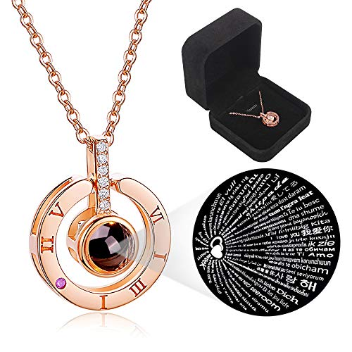 Love Memories Clavicle Necklace 100 Languages I Love You Round Projection Pendant Necklace for Women Girls (Rose Gold)