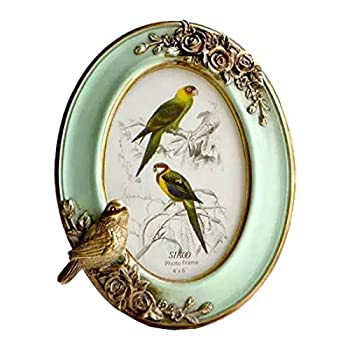 SIKOO Vintage Picture Frame 4x6 Oval Antique Table Top Wall Mounting Photo Frame for Home Decor  Green2