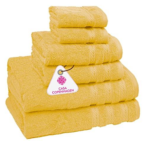 CASA COPENHAGEN Bella Egipcio algodón 600g/m², Sala de baños, Mano y servilleta / Toallas Junto (Amarillo Irlandés) 6 Piezas