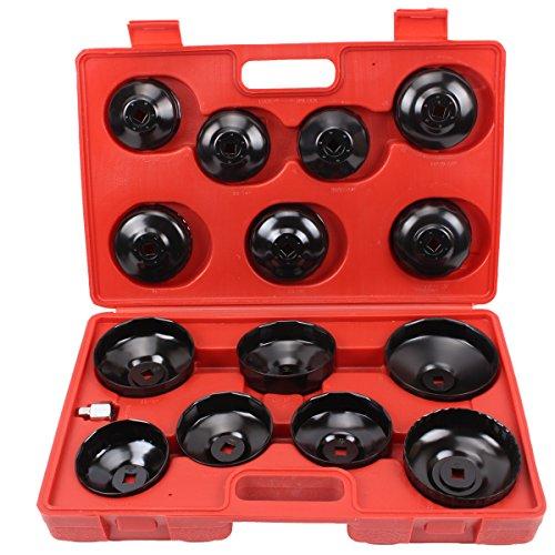 CCLIFE 15 pezzi universale filtro olio Chiavi per filtro olio a tazza bussola set in valigett