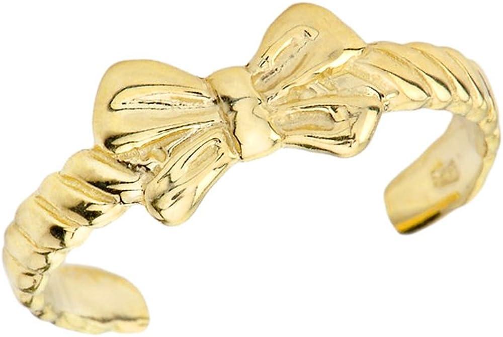 Fancy 10k Yellow Gold Bow Tie Toe Ring