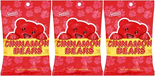 Sweets Cinnamon Bears Candy, 7 Ounce Resealable Bag, Pack of 3