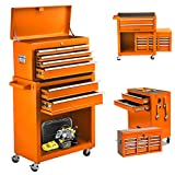 8-Drawer Rolling Tool Chest, 2 in 1 Detachable Tool Chest with Drawers and Lock, High Capacity Tool storage Cabinet on Wheels, Portable Tool Box Organizer for Mechanic Garage and Warehouses