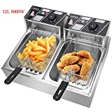 Electric Deep Fryer 5000W 12L Capacity Stainless Steel Deep Fryer Machine for Commercial Restaurant Kitchen Home Use [US STOCK] (#2/12L-Double Tank)