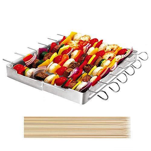 Unicook Heavy Duty Stainless Steel Barbecue Skewer Shish Kabob Set, 6pcs 13