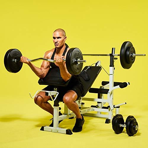 GORILLA SPORTS® Hantelbank Universal mit Hantel-Set Kunststoff 100 kg Weiß - Langhantel, Curlstange, Kurzhanteln, Gewichtsscheiben und Sternverschlüssen