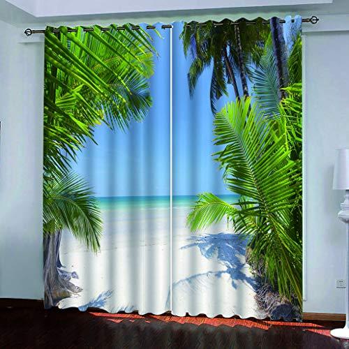 Blickdicht verdunklungsvorhänge mit Ösens,100% Polyester , Ein Satz von 2, Pro Stück 140x210 cm (W x L) ,Moderne Vorhänge mit 3D Strand und Meer Thema - Geeignet für Wohnzimmer und Schlafzimmer