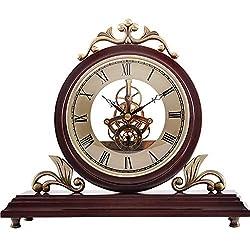 Mantle Clock Fireplace Clock Imitation Mechanical Clock Pine Wood Clock Nordic Vintage Clock Antique Clock Gift, Suitable for Decorating Living Room, Desk, Office, 227x267mm ( Color : Mantel Clock )