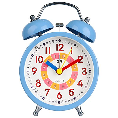 DTKID Alarm Clock,Silent Non-Ticking Bedside Analog Alarm Clock,Small Lightweight Travel Quartz Alarm Clock,with Snooze and Light,Easy to Set,Battery Operated,Best for Gifts (Blue)
