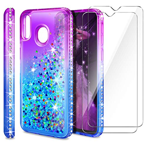 AROYI Cover Samsung Galaxy M20 + Pellicola Protettiva in Vetro Temperato[2 Pack], Brillantini Diamond Sabbie Mobili TPU Silicone Custodia per Samsung Galaxy M20 (Porpora Blu Gradient)