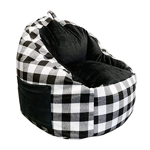 Acessentials 9588801 Faux Fur Bean Bag Chair with Tablet Pocket in Buffalo Print, Black/White