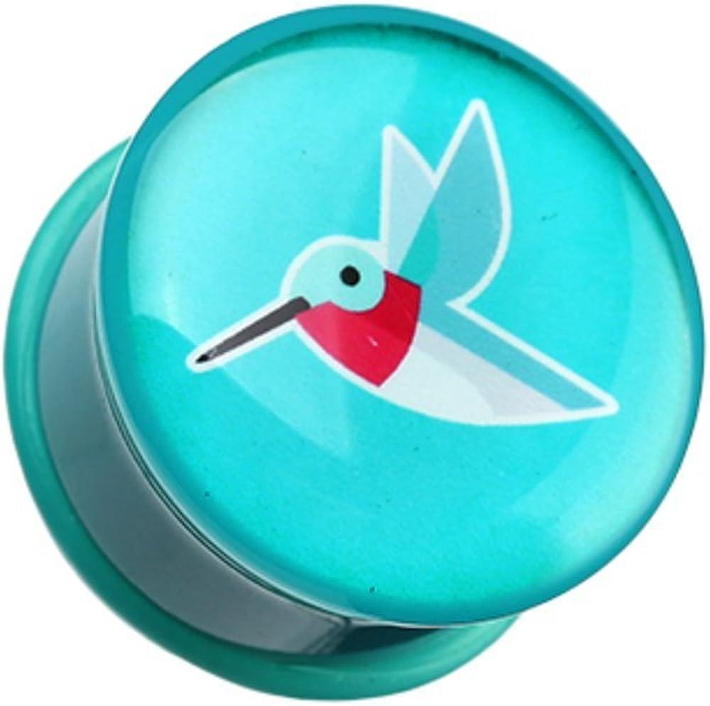 Covet Jewelry Papier Hummingbird Single Flared Ear Gauge Plug