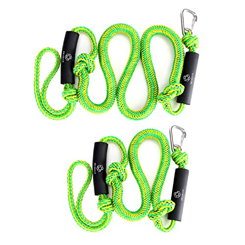 Obcursco PWC Bungee Dock Line Stretchable Bungee Cords Dock Line Sets of Two(4ft & 6ft) with Foams Float Perfect for PWC, Jet Ski, SeaDoo, Yamaha WaveRunner, Kayak, Pontoon (Green/Yellow)