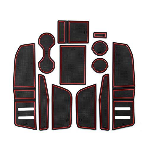 CDEFG pour Q3 2019 Accessoires, AUD-i Q3 F3 Tapis, Auto Tapis Anti-poussière Antidérapante, Coupe Porte Intérieure Tasse Boîte de Bras Tapis de Stockage (Rouge)