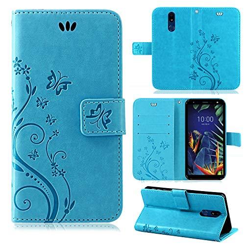 betterfon | Flower Hülle Handytasche Schutzhülle Blumen Klapptasche Handyhülle Handy Schale für LG K40 Blau