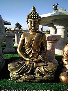DEGARDEN AnaParra Figura Decorativa Buda del Amor Decorativa para Jardín o Exterior Hecho de hormigón-Piedra Artificial | Figura Buda Grande de 73cm, Color Metálico