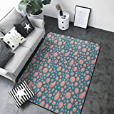 Rug Bathroom Mat Pale Pink,Drops and Round Splash of Bubble Gum on Blue Background in Cartoon Style, Petrol Blue Coral 80 x 58 in Kids Floor mats