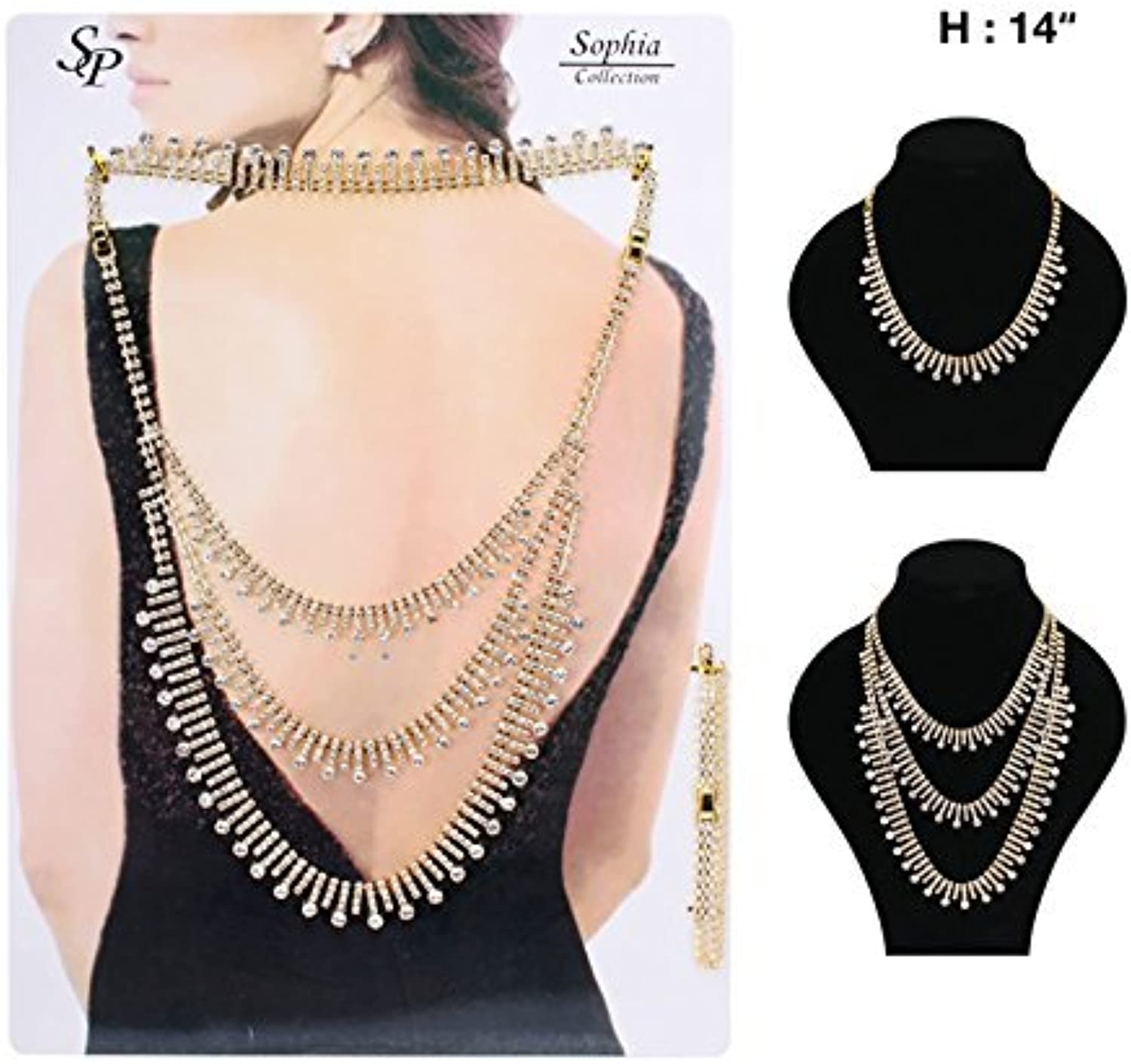 3 Strand Round Stone Accent Pave 2 Piece 3 Way Back Chain Necklace Jewelry Set in goldTone