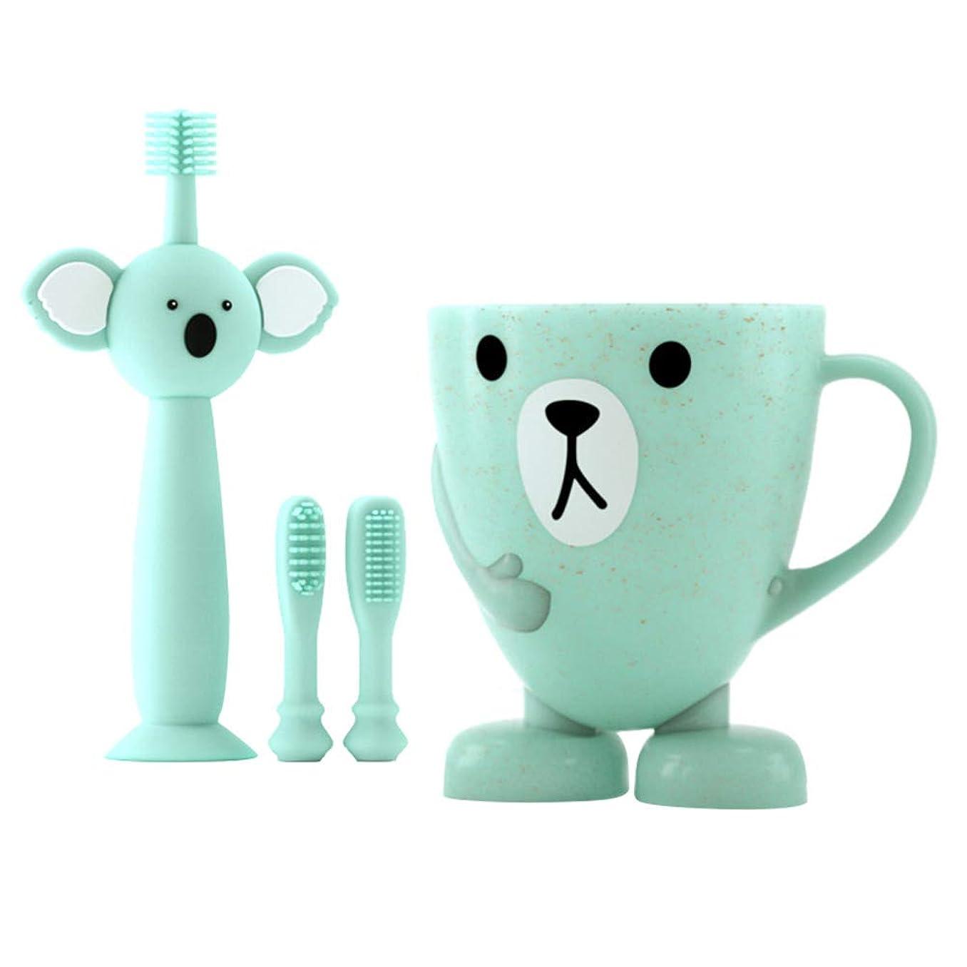 コンピューター幹倫理TOYANDONA 赤ちゃんの歯のクリーニングセット幼児シリコン歯ブラシ2個付き交換用ブラシヘ??ッドカップ4個