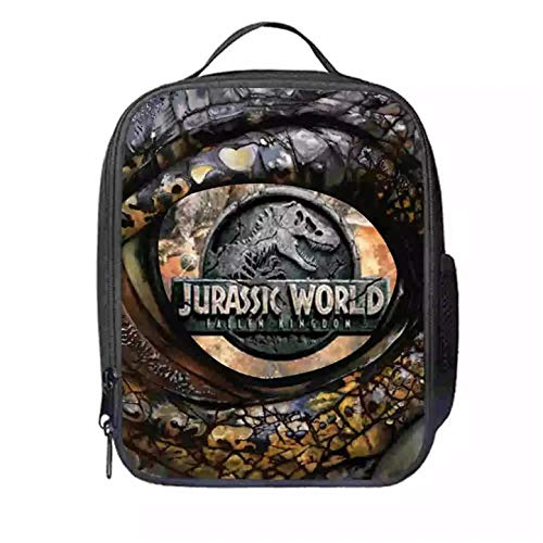 fashion 1938 Boys Jurassic World Insulated Lunch Bags-Waterproof and Reusable Dinosaur Lunch Box for School Students
