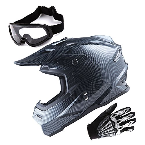 1Storm Adult Motocross Helmet BMX MX ATV Dirt Bike Helmet Racing Style Carbon Fiber Black; + Goggles + Skeleton Black Glove Bundle