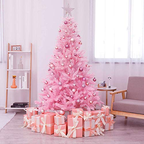 Árbol de Navidad Rosa, árbol de Navidad preiluminado con bisagras con luz...