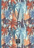 Cahier: A4-petits carreaux (21x29,7cm)-grand format-96 pages- couverture palmier exotique-cahier journal de notes pour: école, université, travail, ... de bord-bloc notes-enfant
