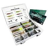 95 Teile Finesse-Box Gummifische zum Zanderangeln mit Finesse Systemen | 30 Gummifische: 6 Farben - 9,5 cm | 10 Offset-Haken | 20 Bleie + komplettes Finesse-Zubehör