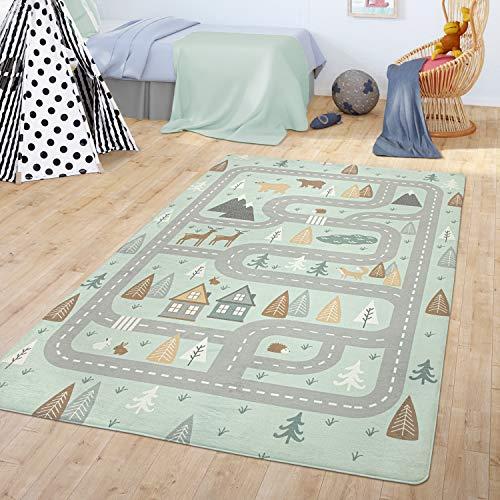 TT Home Teppich Kinderzimmer Kinderteppich Babymatte Straßen Motiv Tiere Wald Haus Junge, Farbe:Türkis, Größe:80x150 cm