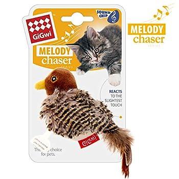 Vealind GiGwi Melody Chaser Jouet Interactif en Peluche pour Chiens et Chats (Brun Oiseau)
