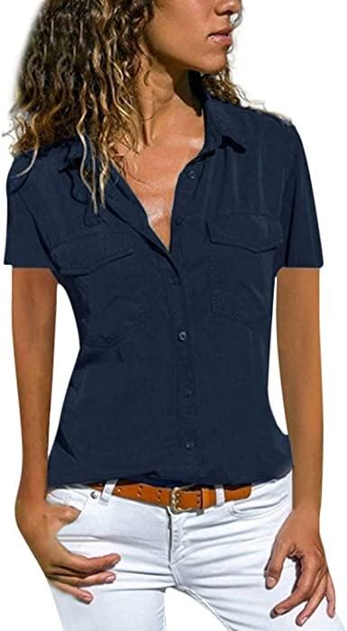 VEMOW Blusas Camisetas Mujeres Manga Corta Suelta Manga Corta Cuello Bolsillos Botones Tops