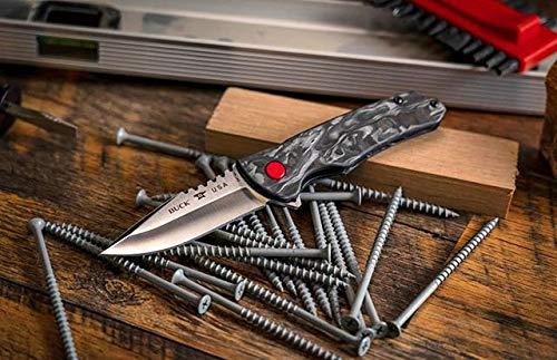 "Buck Knives 841 Sprint Pro, Easy Opening Ball Bearing Flipper Liner Lock Folding Pocket Knife with Removable Stainless Steel Clip, Marbled Carbon Fiber, Black, 3-1/8"" S30V Blade"