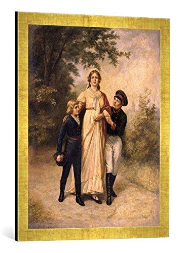Kunst für Alle '–Fotografía enmarcada de Carl Constantin Steff Esquina Luise V. pr. con Dos soehnen en el Parque 1805, de impresión handgefertigten imágenes de Marco, 50x 70cm, Oro Raya