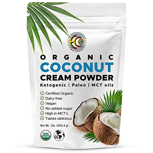 Earth Circle Organics - Organic Coconut Cream | Milk Powder, Perfect Keto Coffee Creamer - High in MCT Oil, Vegan, No Added Sugar, Gluten and Dairy Free - 1 Pound
