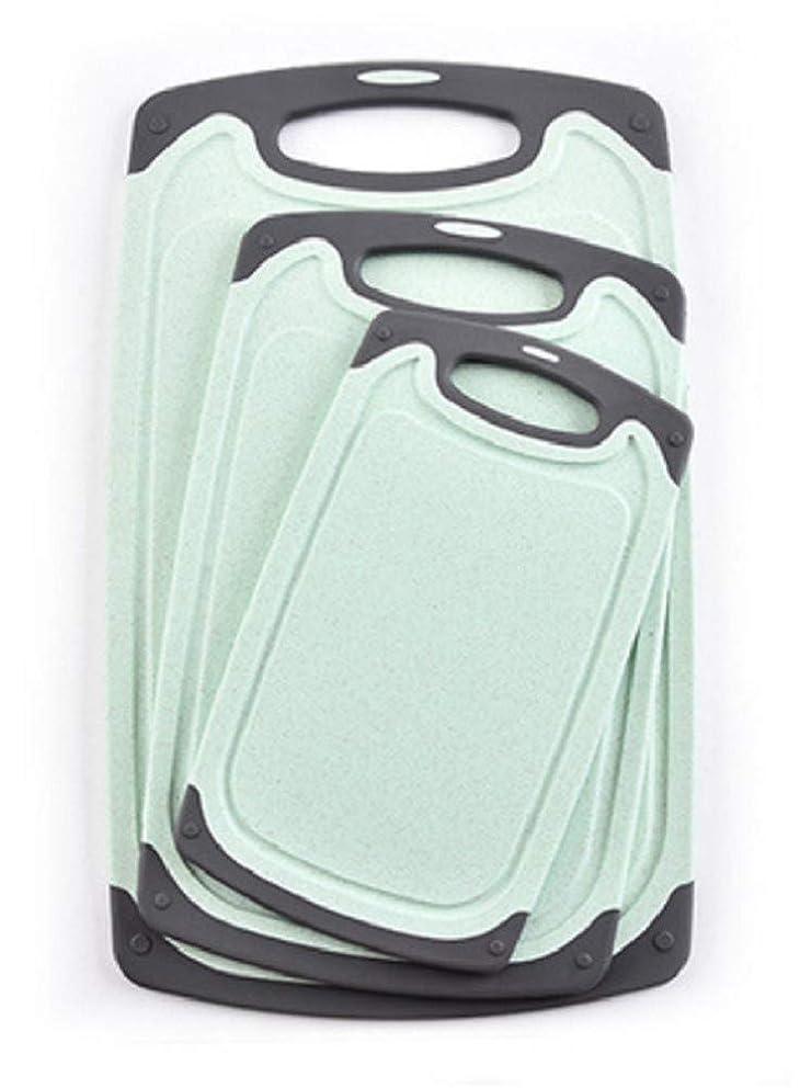 Kitchen Cutting Boards, Anti-Skid Eco-Wheat Straw Vegetable Board Set (3 Pcs), Dishwasher Safe (Light green)