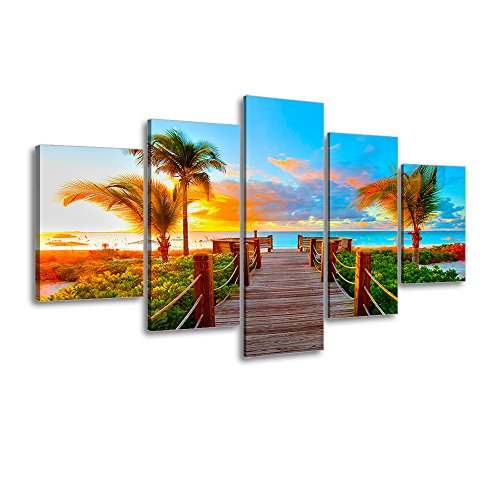 Tropical Beach Painting Decor, SZ 5 Piece Palm Tree Sunset Picture Canvas Wall Art, Ocean Canvas Prints for Bedroom, Ready to Hang, 1' Deep, Waterproof, Medium