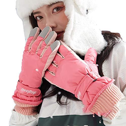 SSDAOO Winterski Handschuhe Radfahren Motorrad Kaltbeständige Handschuhe Dicke Eislaufenhandschuhe Motorrad Winterhandschuhe,Pink Female