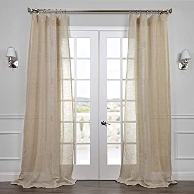 HPD HALF PRICE DRAPES Half Price Drapes SHLNCH-J0106-84 Linen Sheer Curtain, Open Weave Natural